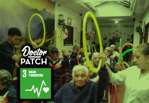 Voluntários auxiliando na saúde mental e física de idosos em uma ONG na Colômbia.