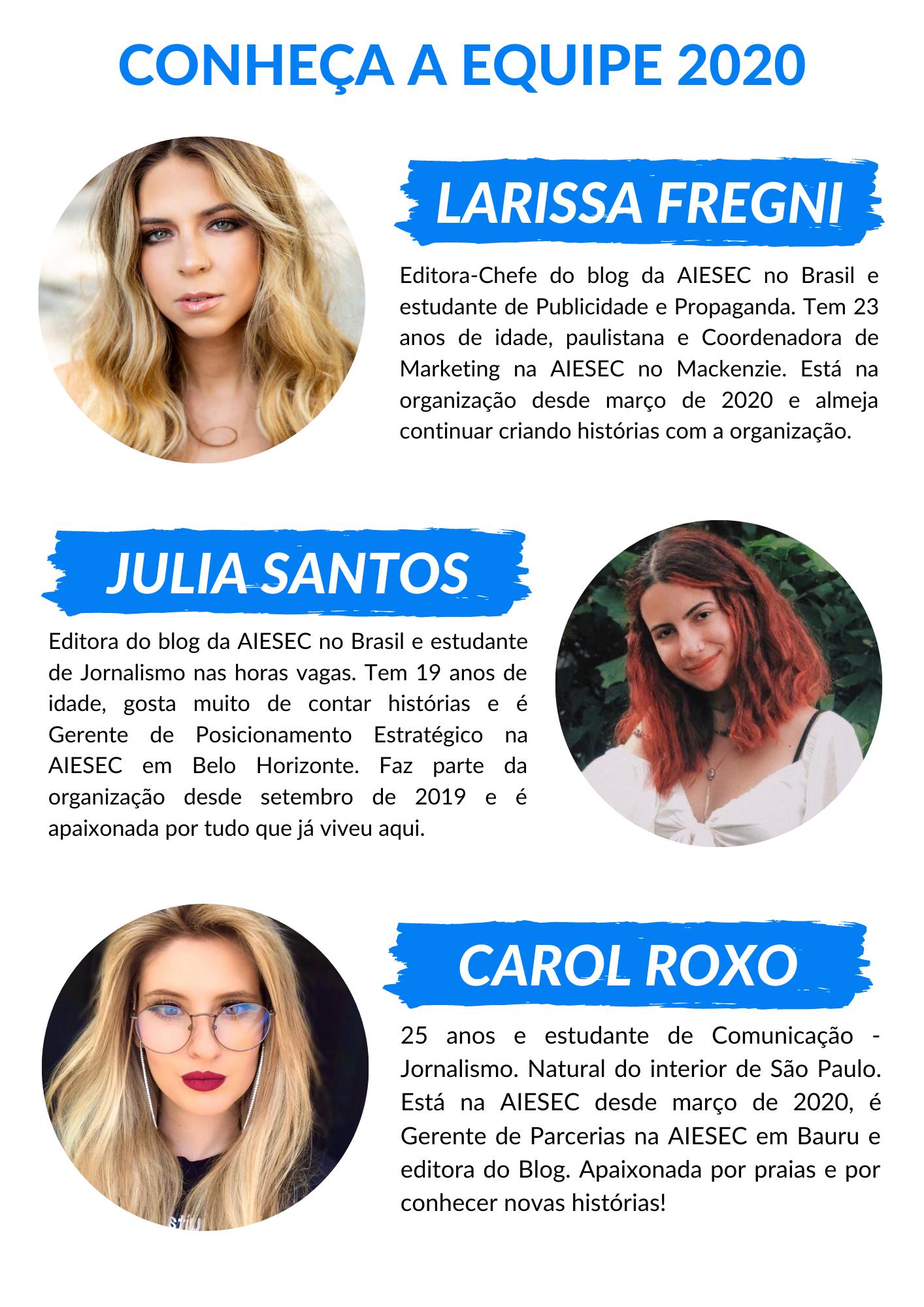 Apresentação das editoras do blog AIESEC no Brasil 2020.2
